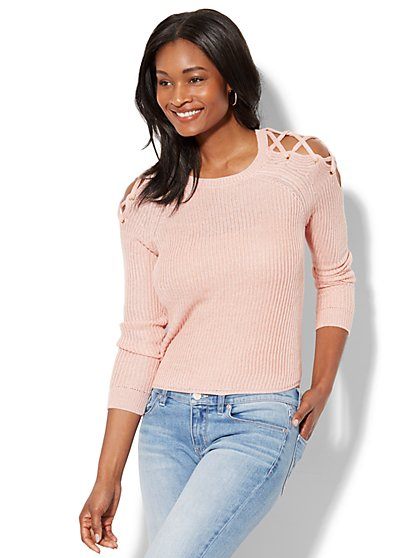Lace-Up Ribbed-Knit Sweater - Pink - New York & Company