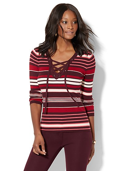 Lace-Up Ribbed-Knit Sweater - Stripe  - New York & Company