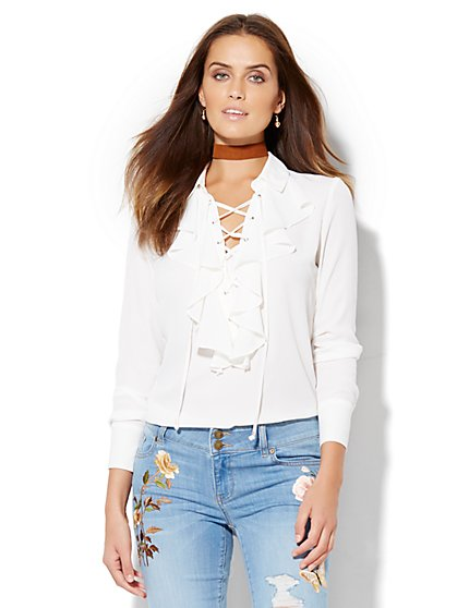 Lace-Up Ruffled Blouse  - New York & Company