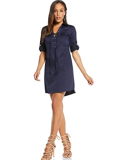 Lace-Up Shift Dress - New York & Company