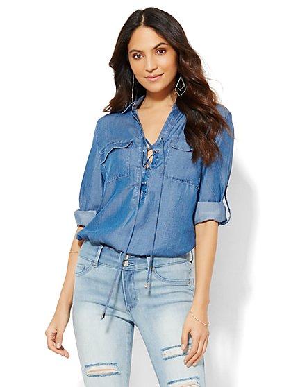 Lace-Up Shirt - Dark Marble Wash  - New York & Company