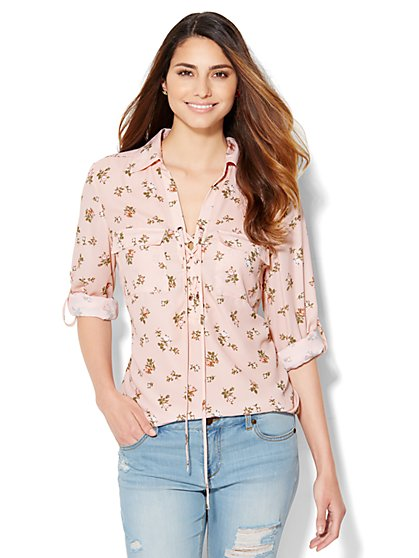 Lace-Up Shirt - Floral  - New York & Company