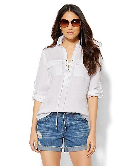 Lace-Up Shirt - Optic White  - New York & Company