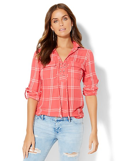Lace-Up Shirt - Plaid  - New York & Company