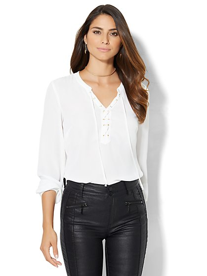 Lace-Up Shirt - White  - New York & Company
