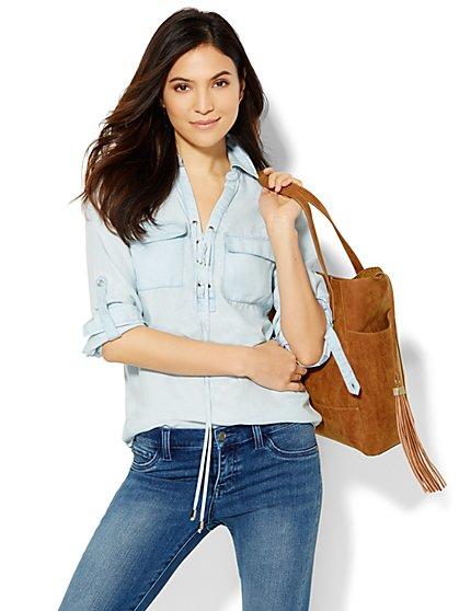 Lace-Up Super-Soft Chambray Shirt - Light Marble Wash  - New York & Company