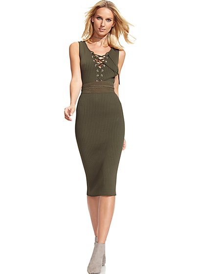 Lace-Up Sweater Dress - New York & Company