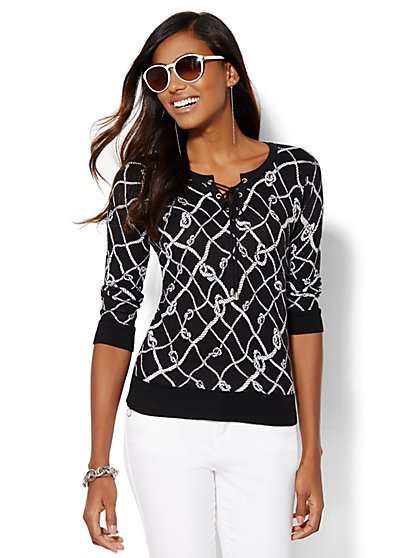 Lace-Up Sweater - Print  - New York & Company