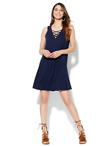 Lace-Up V-Neck Dress  - New York & Company