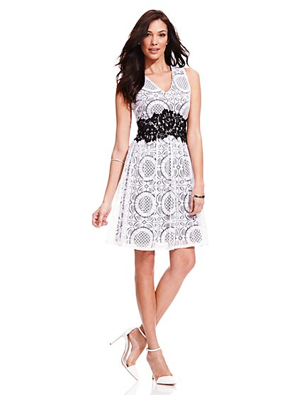 Lace V-Neck Dress  - New York & Company