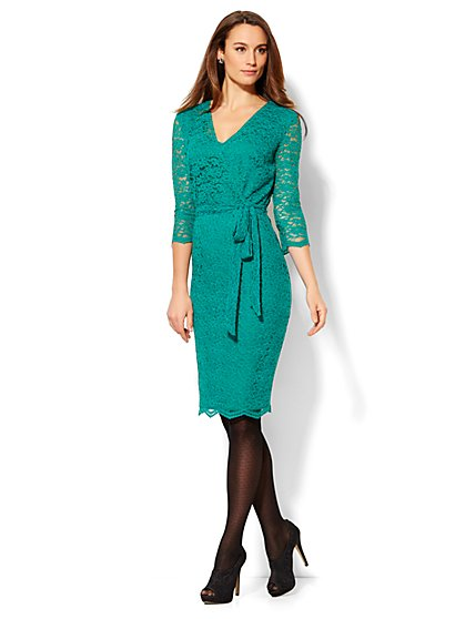 Lace Wrap Dress - Petite  - New York & Company