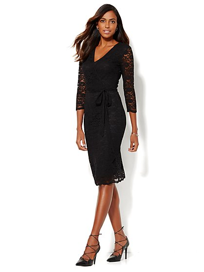 Lace Wrap Dress - Petite  - New York & Company