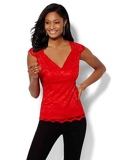 Lace Wrap Top  - New York & Company