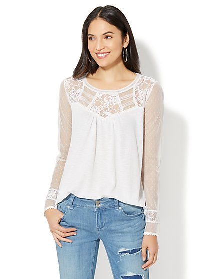 Lace-Yoke Top - New York & Company