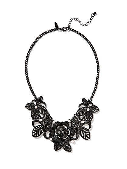 Lacy Floral Bib Necklace  - New York & Company