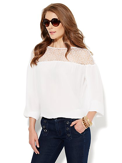 Lacy Mesh Peasant Blouse  - New York & Company