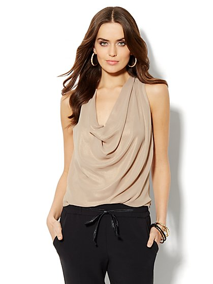 Lamé Cowl-Neck Shell    - New York & Company