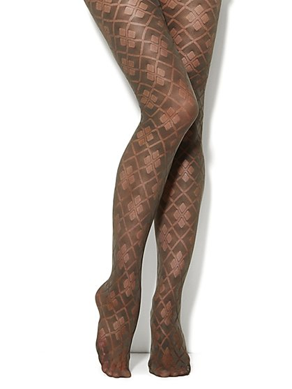 Large Argyle Pattern Tights  - New York & Company