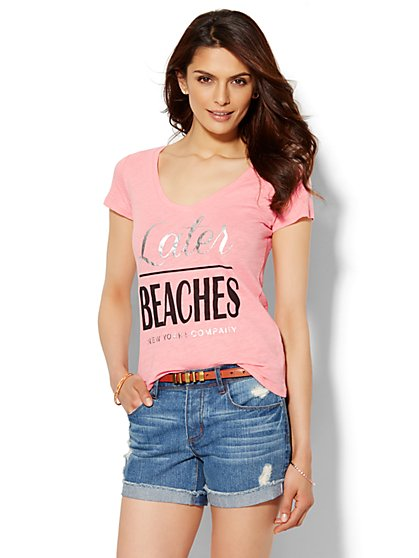Later Beaches Logo Tee - New York & Company
