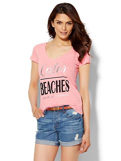 Later Beaches Logo Tee - New York & Company