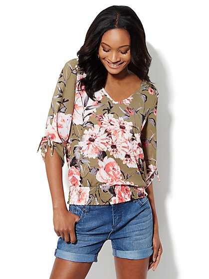 Lattice-Detail Smocked Blouse - Floral Print  - New York & Company