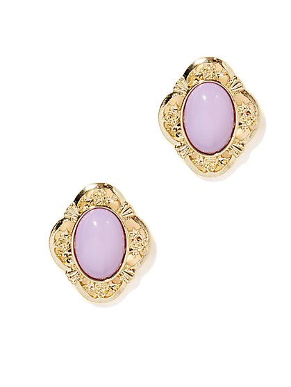 Lavender Cabochon Earring  - New York & Company