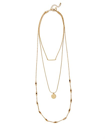 Layered Bar & Coin Pendant Necklace  - New York & Company