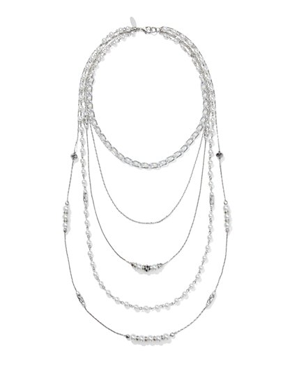 Layered & Beaded Five-Row Necklace  - New York & Company