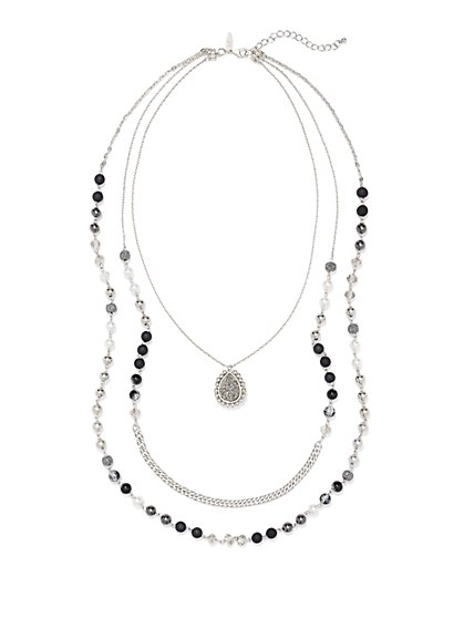 Layered & Beaded Pendant Necklace  - New York & Company