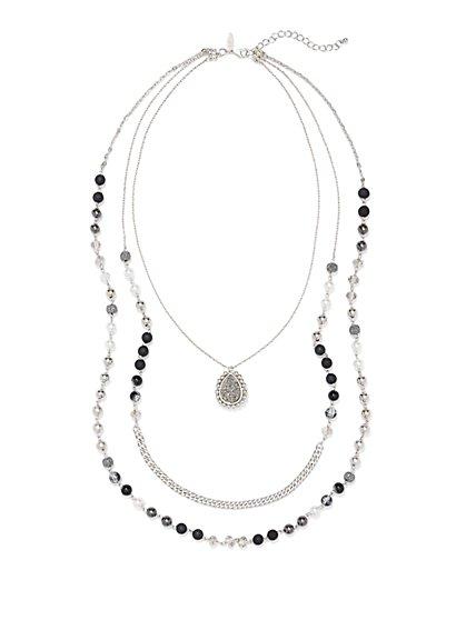 Layered & Beaded Pendant Necklace  - New York & Company