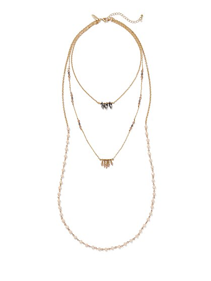 Layered & Beaded Three-Row Necklace  - New York & Company
