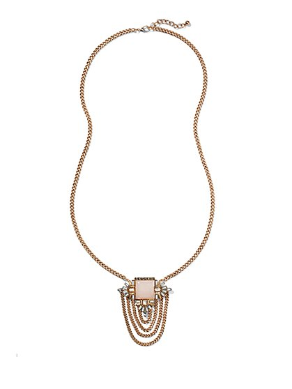 Layered Chain Pendant Necklace  - New York & Company