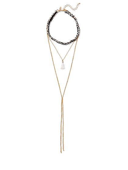 Layered Choker & Y Necklace  - New York & Company