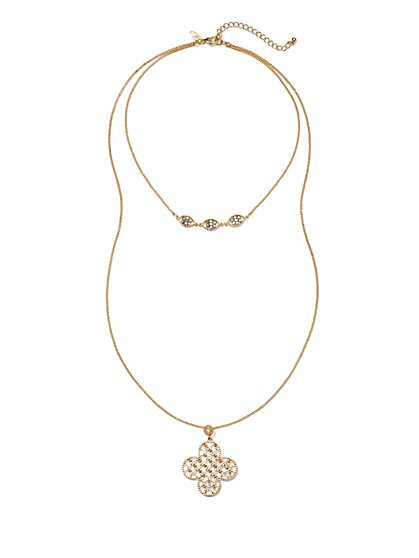 Layered Clover Pendant Necklace  - New York & Company