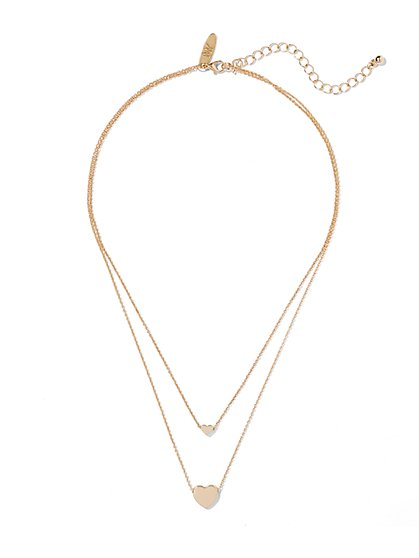 Layered Double Heart Necklace  - New York & Company