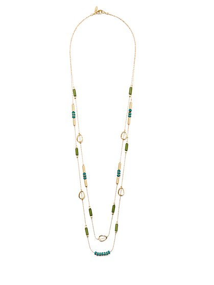 Layered Double-Row Beaded Necklace  - New York & Company