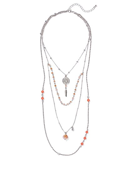 Layered Dream Catcher Necklace  - New York & Company