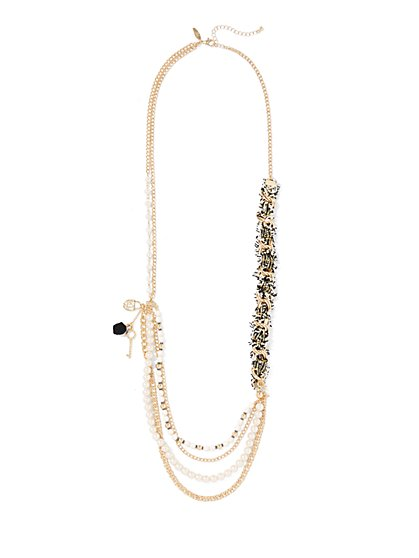 Layered Faux-Pearl & Chain-Link Necklace  - New York & Company
