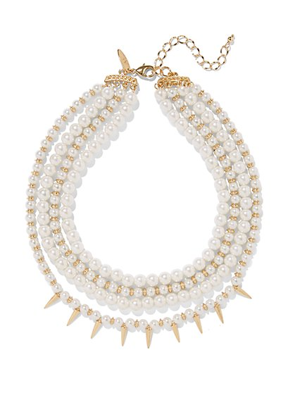 Layered Faux-Pearl Collar Necklace  - New York & Company