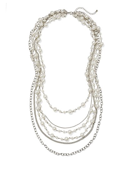 Layered Faux Pearl & Multi-Chain Necklace  - New York & Company