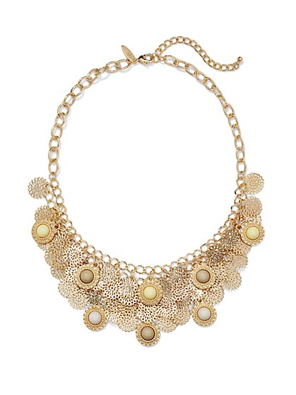 Layered Filigree Disk Necklace  - New York & Company