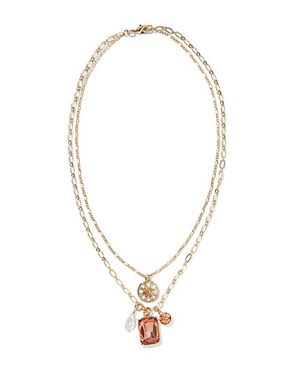 Layered Floral Charm Necklace   - New York & Company