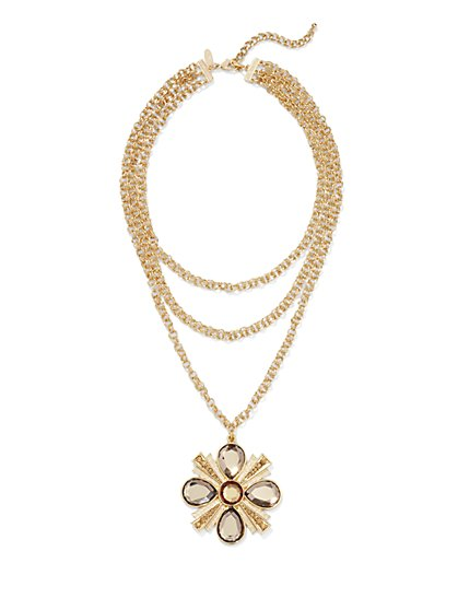 Layered Floral Pendant Necklace  - New York & Company