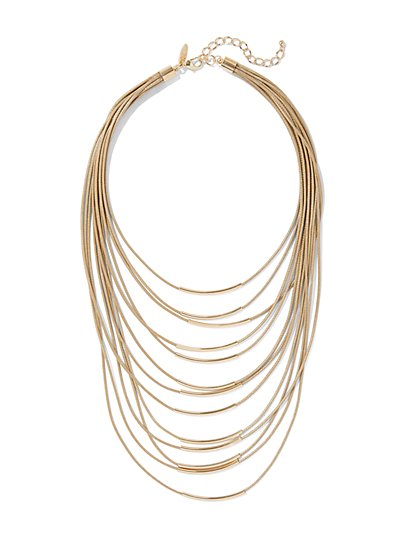 Layered Goldtone Bar Necklace  - New York & Company