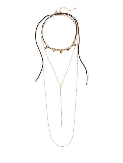 Layered Goldtone Choker & Y Necklace   - New York & Company