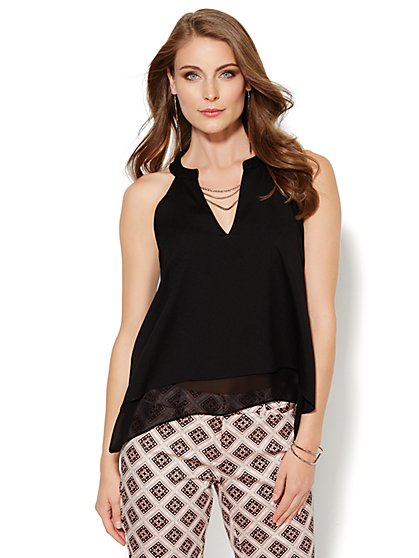 Layered Halter Top - Chain-Link Trim  - New York & Company