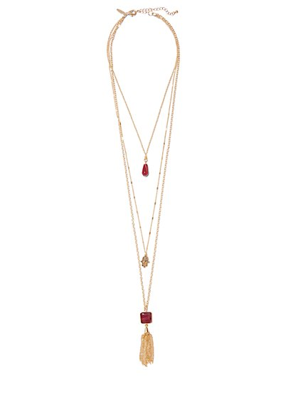 Layered Hamsa Tassel Pendant Necklace  - New York & Company