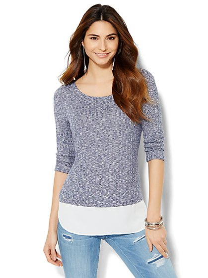 Layered Heathered Top  - New York & Company
