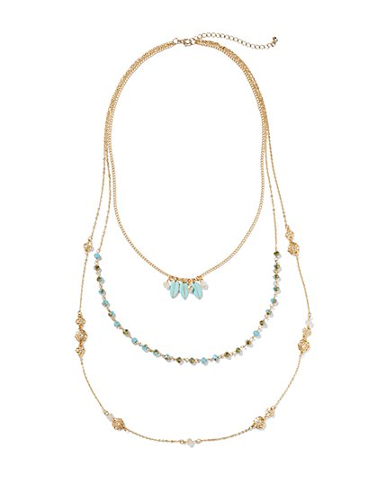 Layered Leaf Pendant & Beaded Necklace  - New York & Company