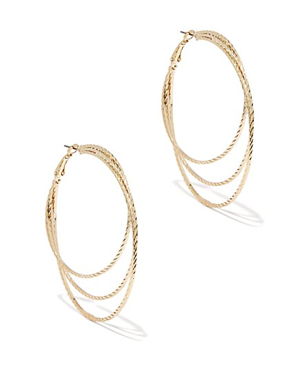 Layered Textured Hoop Earring  - New York & Company